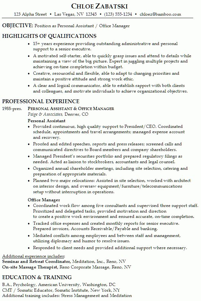 Resume: Personal Assistant / Office Manager - Susan Ireland Resumes