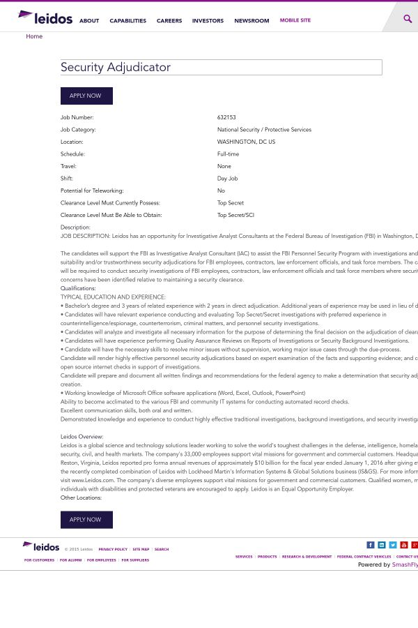 Security Adjudicator job at Leidos in Washington, DC | Tapwage Job ...