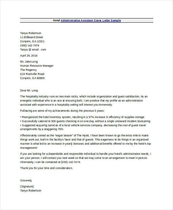Administrative Assistant Cover Letters - 9+ Free Word, PDF Format ...