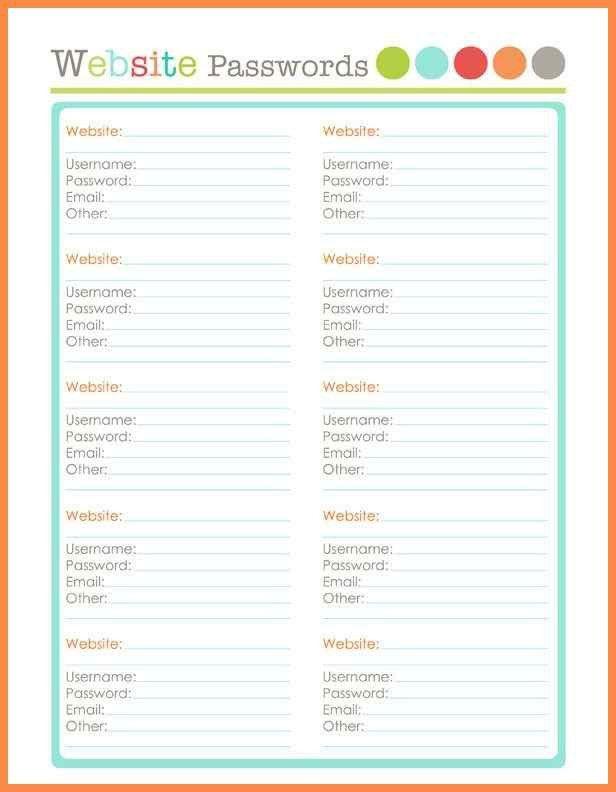 password log template | resume name