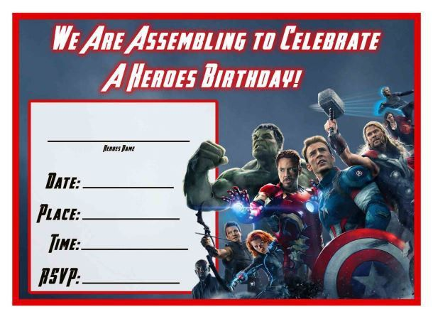 Free Avengers: Age of Ultron Printable Birthday Invitation ...