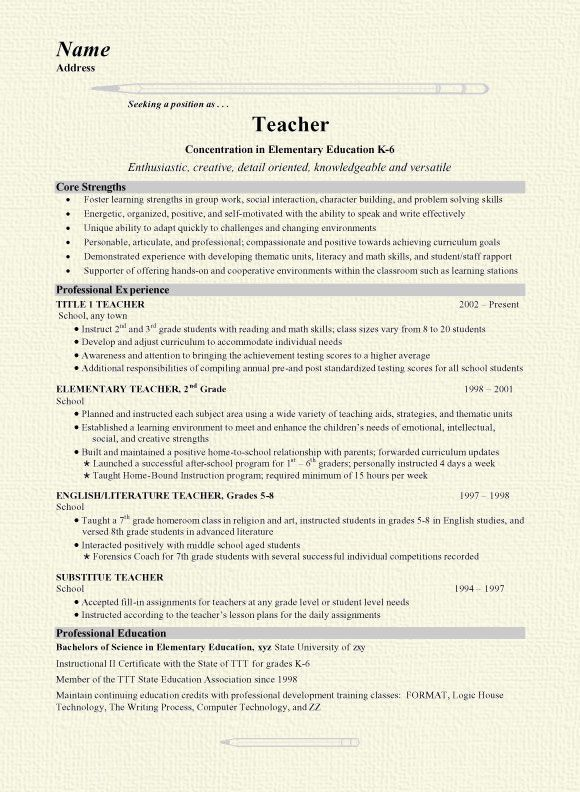 Teacher Resume Sample #14177