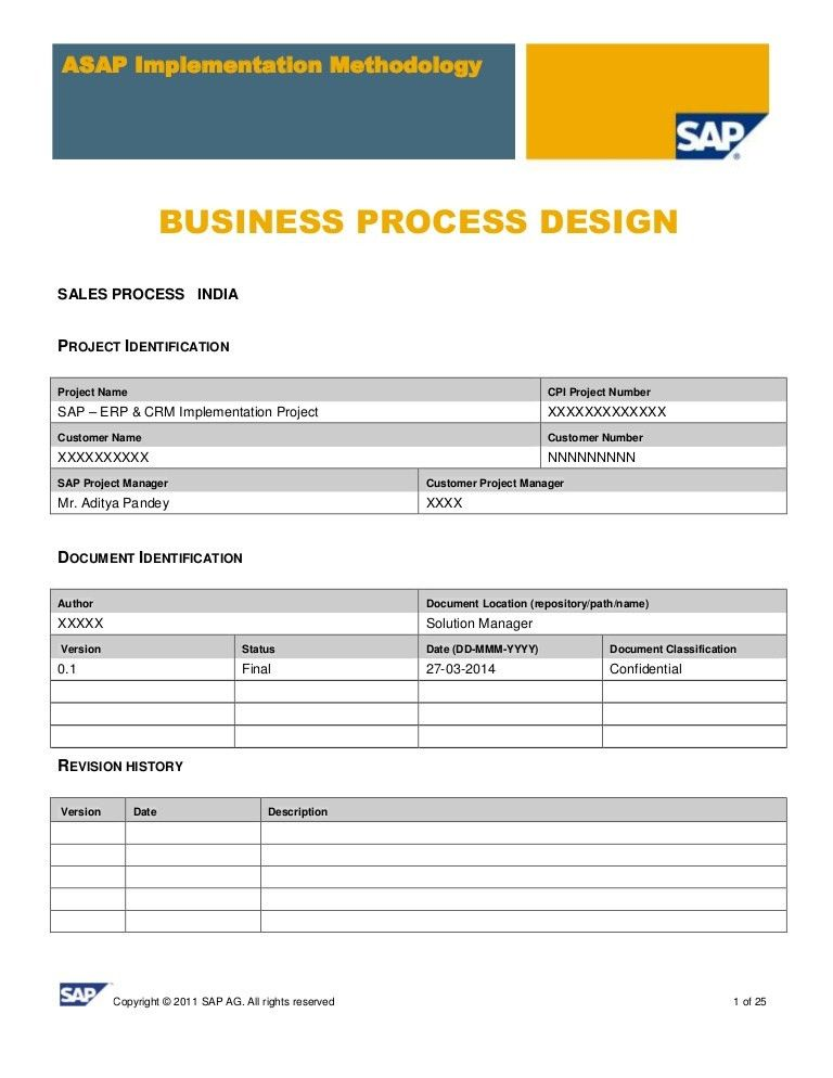SAP SD Business Blue Print E1 Sales Template