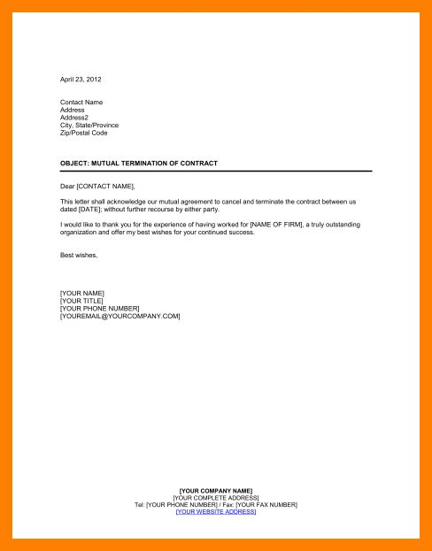 5+ termination of agreement letter | packaging clerks