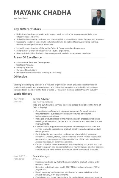 Senior Advisor Resume samples - VisualCV resume samples database