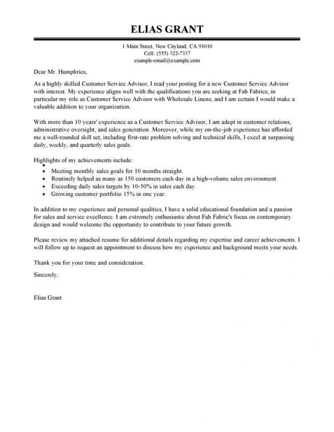 Service Advisor Cover Letter Cover Letter customer service advisor ...