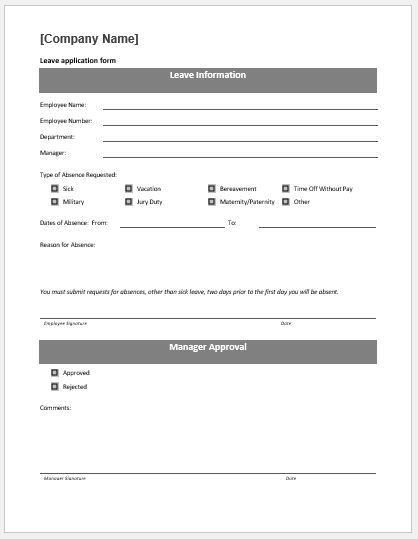 Leave Application Form Template MS Word | Word & Excel Templates