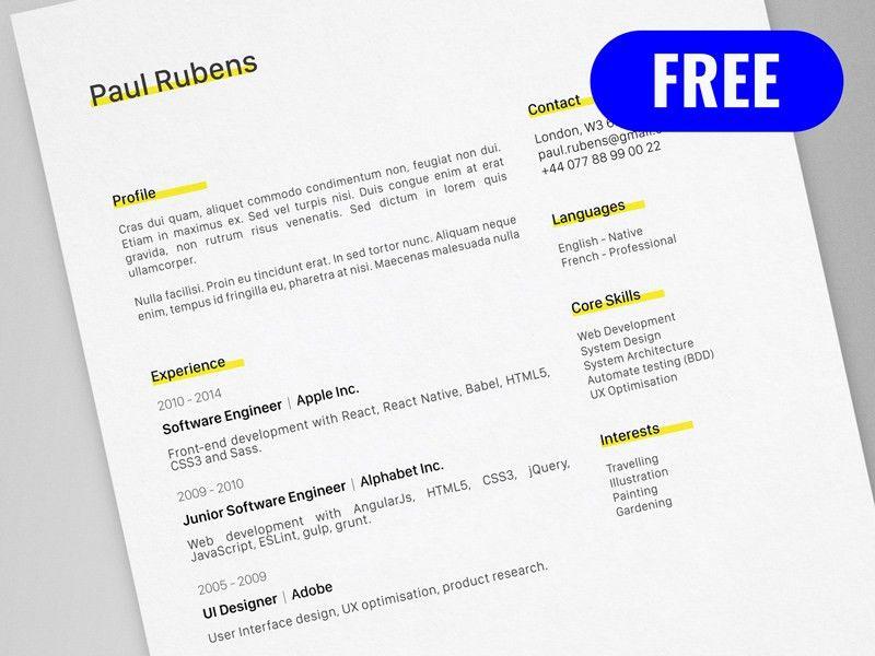 CV / Resume Template for Adobe Illustrator - Freebie Supply