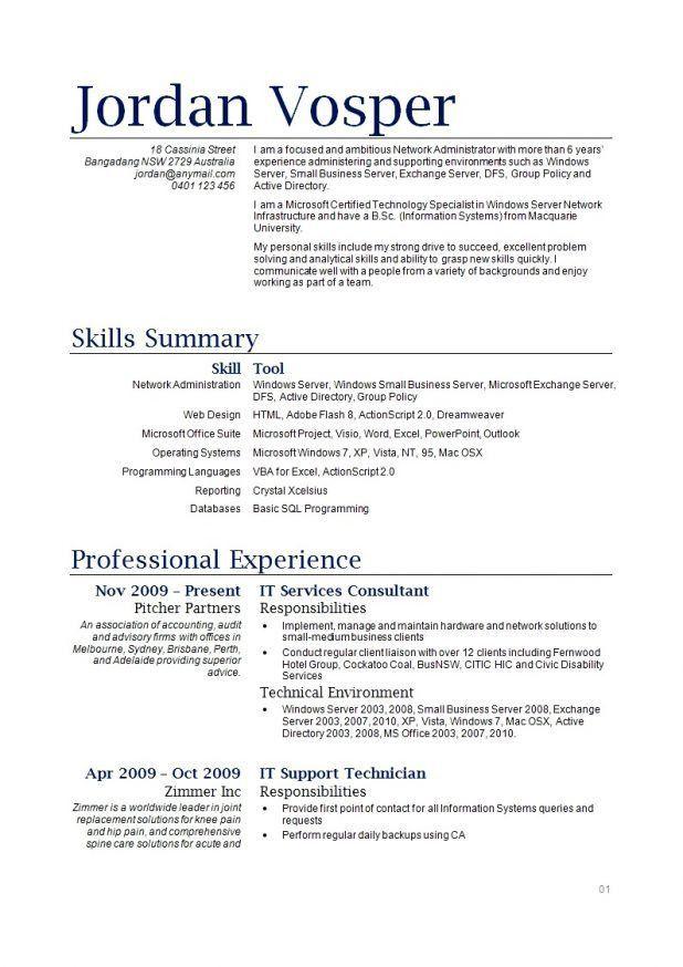 Network Admin Resume 68 [Template.billybullock.us ]