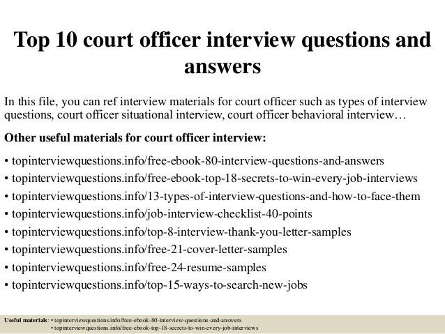 Top 10 court officer interview questions and answers