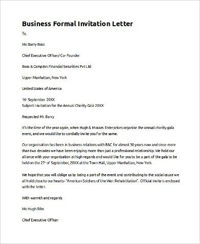 Sample Invitation Letter   9+ Examples In PDF, Word  Business Event Invitation Letter