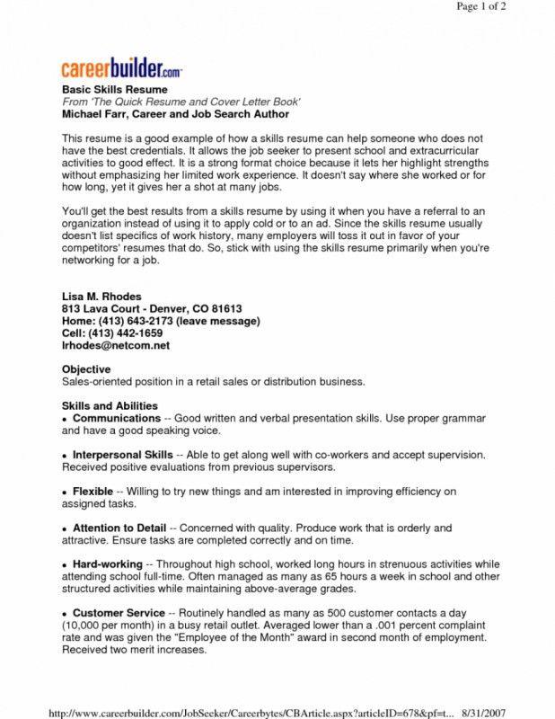 Skills Cover Letter