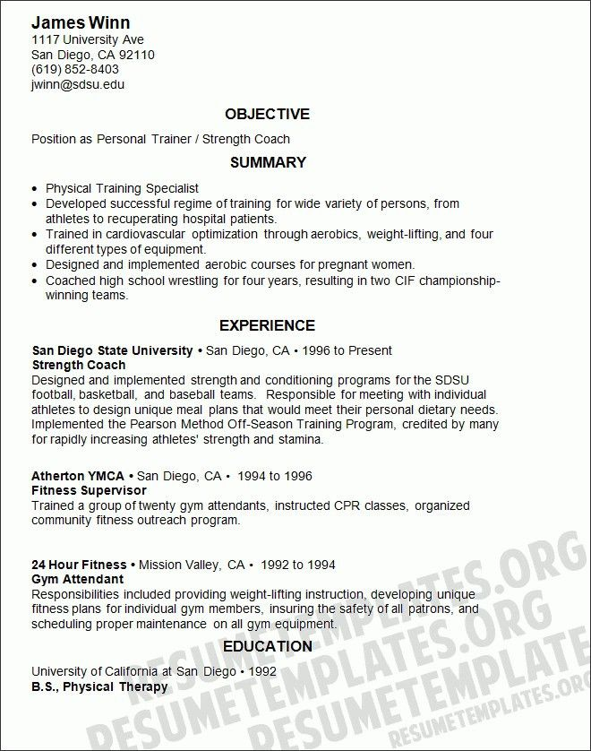 personal trainer resume template assistant teacher resume example ...