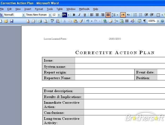 Corrective Action Plan Template Free | Free Business Template