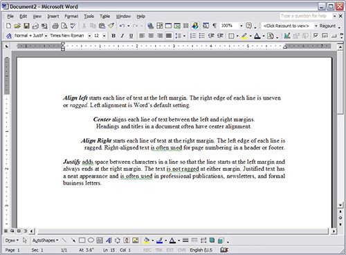 Formatting Paragraphs in Microsoft Word