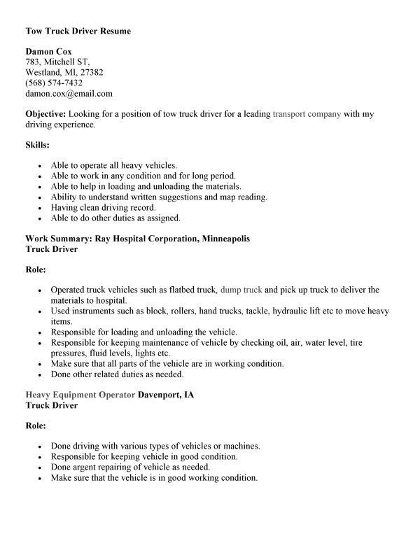 18+ Excellent Truck Driver Resume Samples : Vinodomia