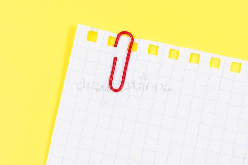 Sheet Notepad Paper Clip On Yellow Background. Stock Images ...