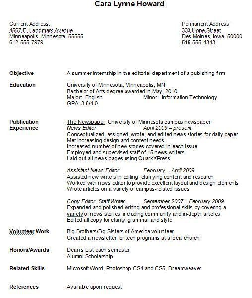 Resume Format For College. Example Resume Format For Internship ...
