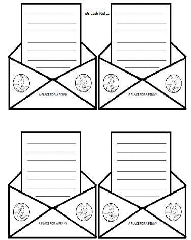 Chinuch.org :: Mitzvah Note Template with Place for Tzedaka Money ...