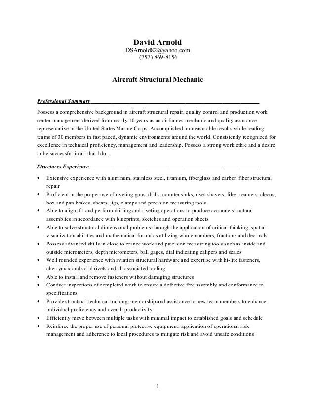Resume - Structures Mechanic