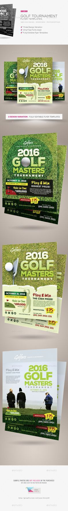 Vector Golf Tournament poster invitation template. Large field of ...