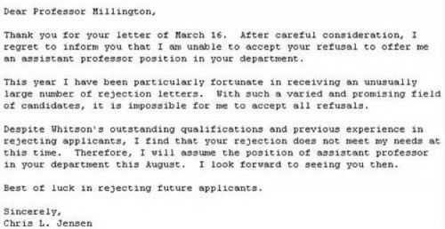 Best responses to a job rejection