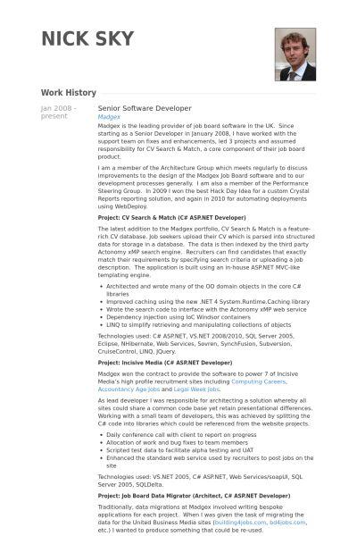 Senior Software Developer Resume samples - VisualCV resume samples ...