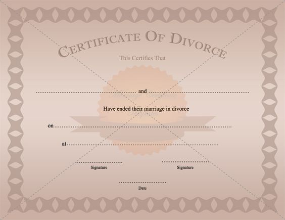 Certificate Of Divorce Template Printable ...
