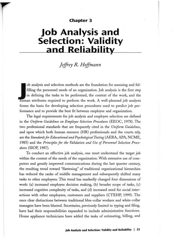Job Analysis and Selection- Validity and Reliability Ch 3 - Effective…