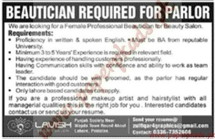Beauticians Required - Jang Jobs ads 15 May 2016 - PaperPk
