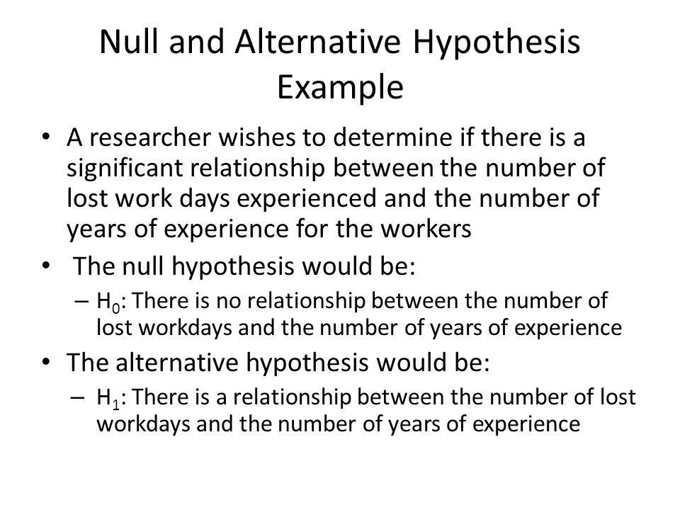 Writing Research Hypotheses Null and Alternative Hypotheses The ...