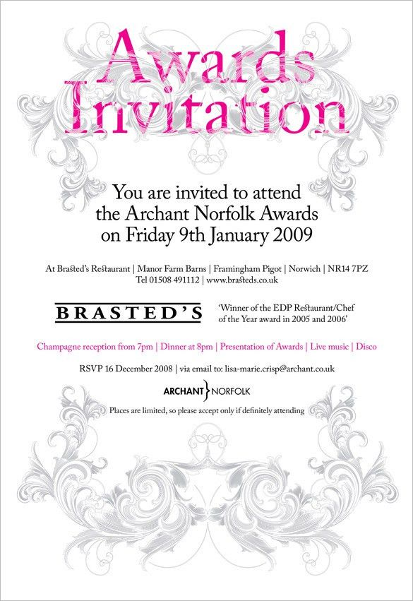 presentation invitation template 10 glorious award ceremony ...