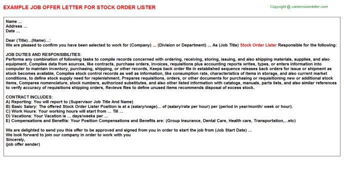 Stock Order Lister Job Title Docs