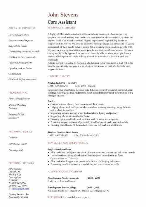 Personal Care Assistant Resume Sample Patient Care Assistant ...
