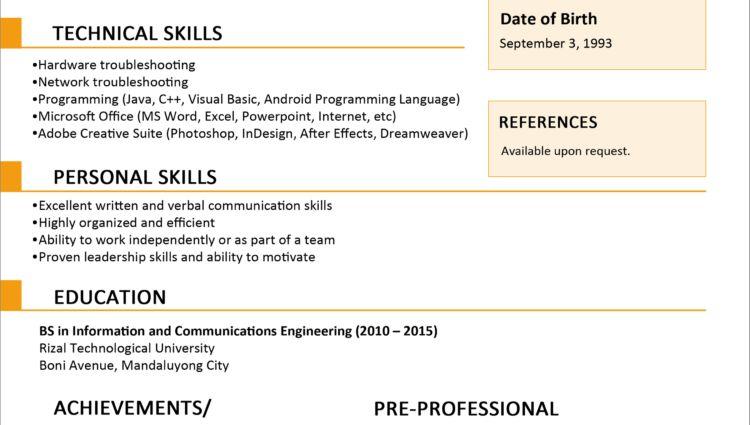 Sample Resume Format for Fresh Graduates curriculum vitae sample ...