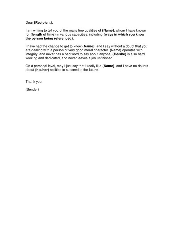 Character Reference Letter Template 3 | LegalForms.org