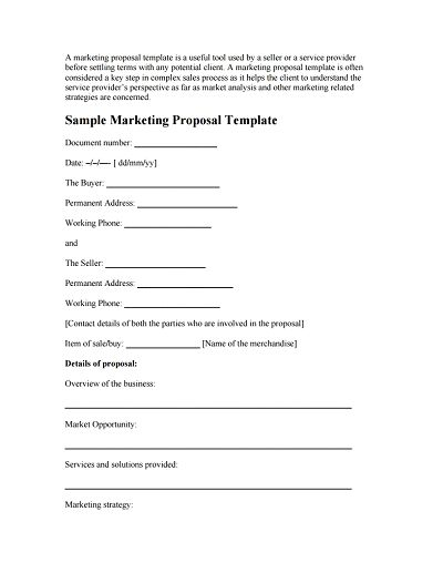 Template For Marketing Proposal. how to write a perfect marketing ...