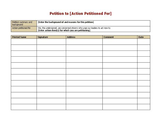 petition-form - sample petition template | Office Templates ...