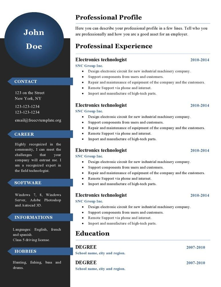 Curriculum vitae resume templates #386 to 391 – freecvtemplate.org