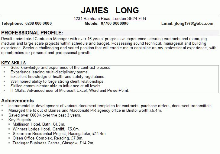 resume personal statement example - Template