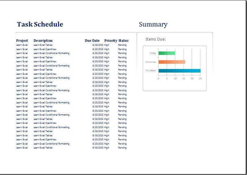 MS Excel Personal Task Schedule Planner Template | Word & Excel ...