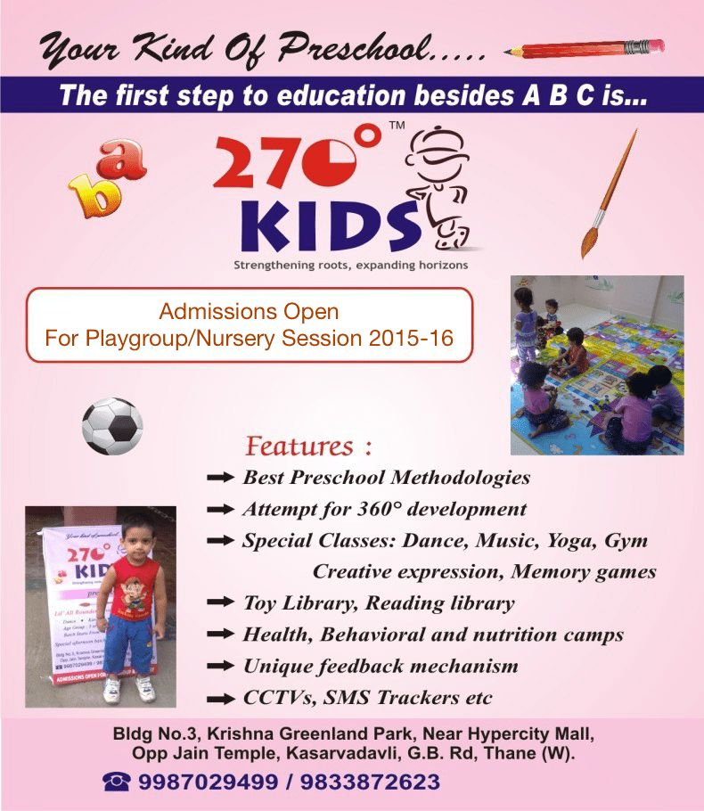 Admissions Open 2014-15 - 270 Degree Kids | Pre School in Thane ...
