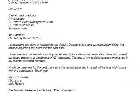 assistant activities director cover letter