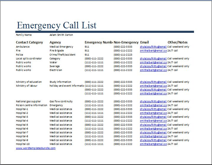MS Excel Emergency Call List Template | Word & Excel Templates