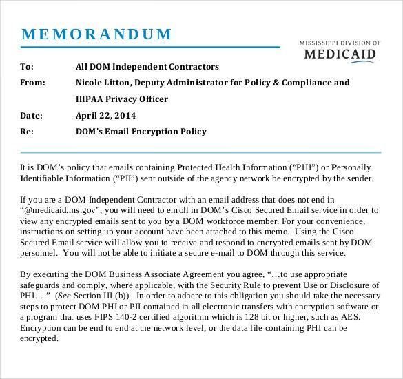 Email Memo Template – 6+ Free Word, PDF Documents Download | Free ...