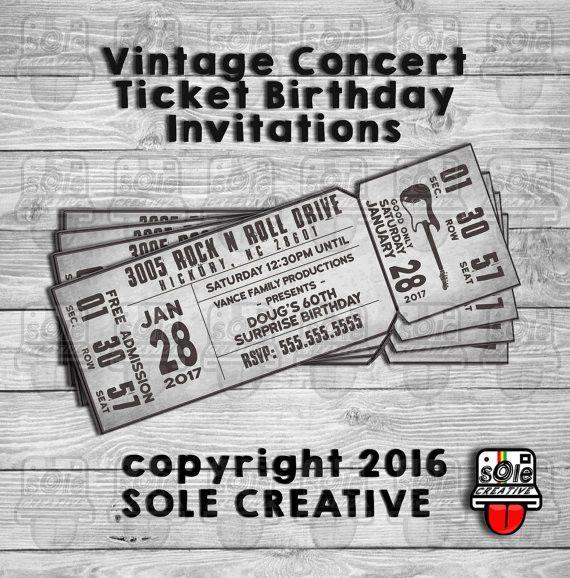 Concert Ticket Birthday Invitations