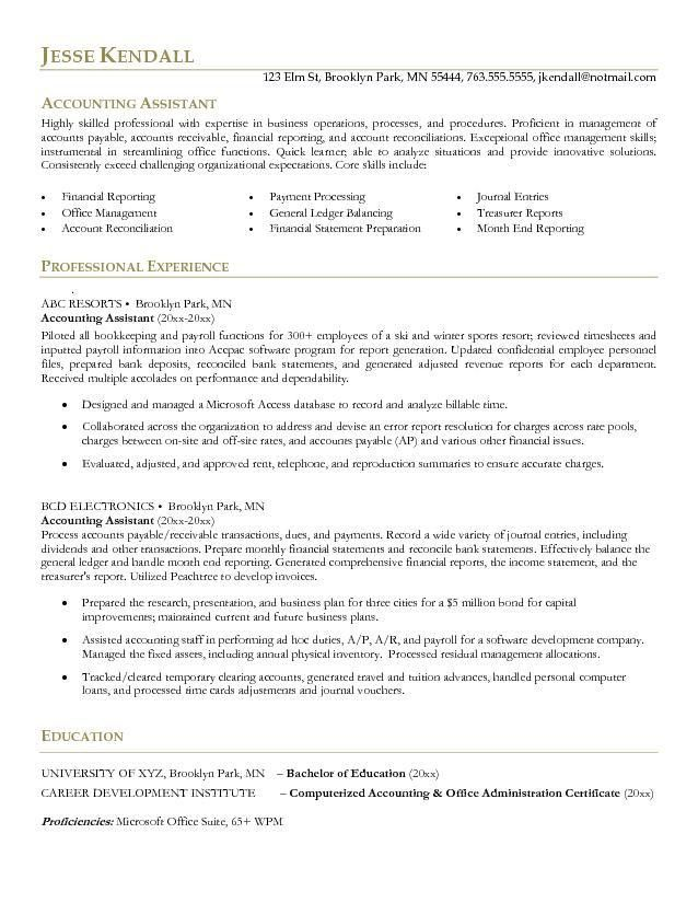 Example Accounting Assistant Resume - Free Sample