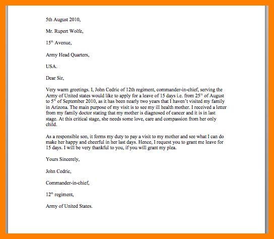 How To Write A Letter Requesting For Unpaid Leave - Cover Letter ...