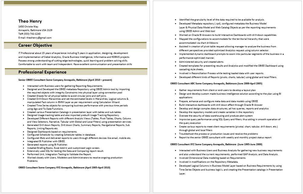 OBIEE Consultant Resume – Best Resume Examples