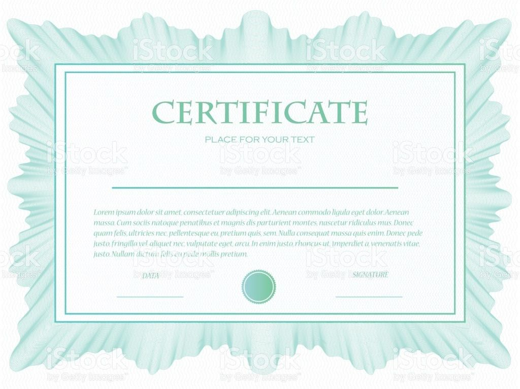 Illustration Of A Custom Certificate Template With Guilloche stock ...